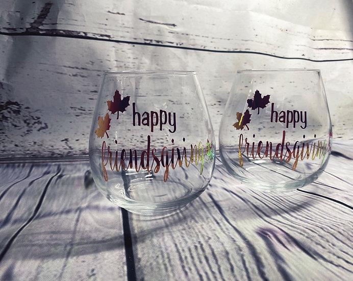 Happy Friendsgiving Wine Glasses (Set of 4)