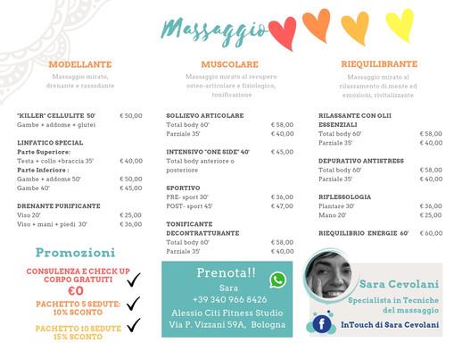 Listino Prezzi, massaggi ed estetica
