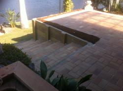 Retaing walls + steps + paving