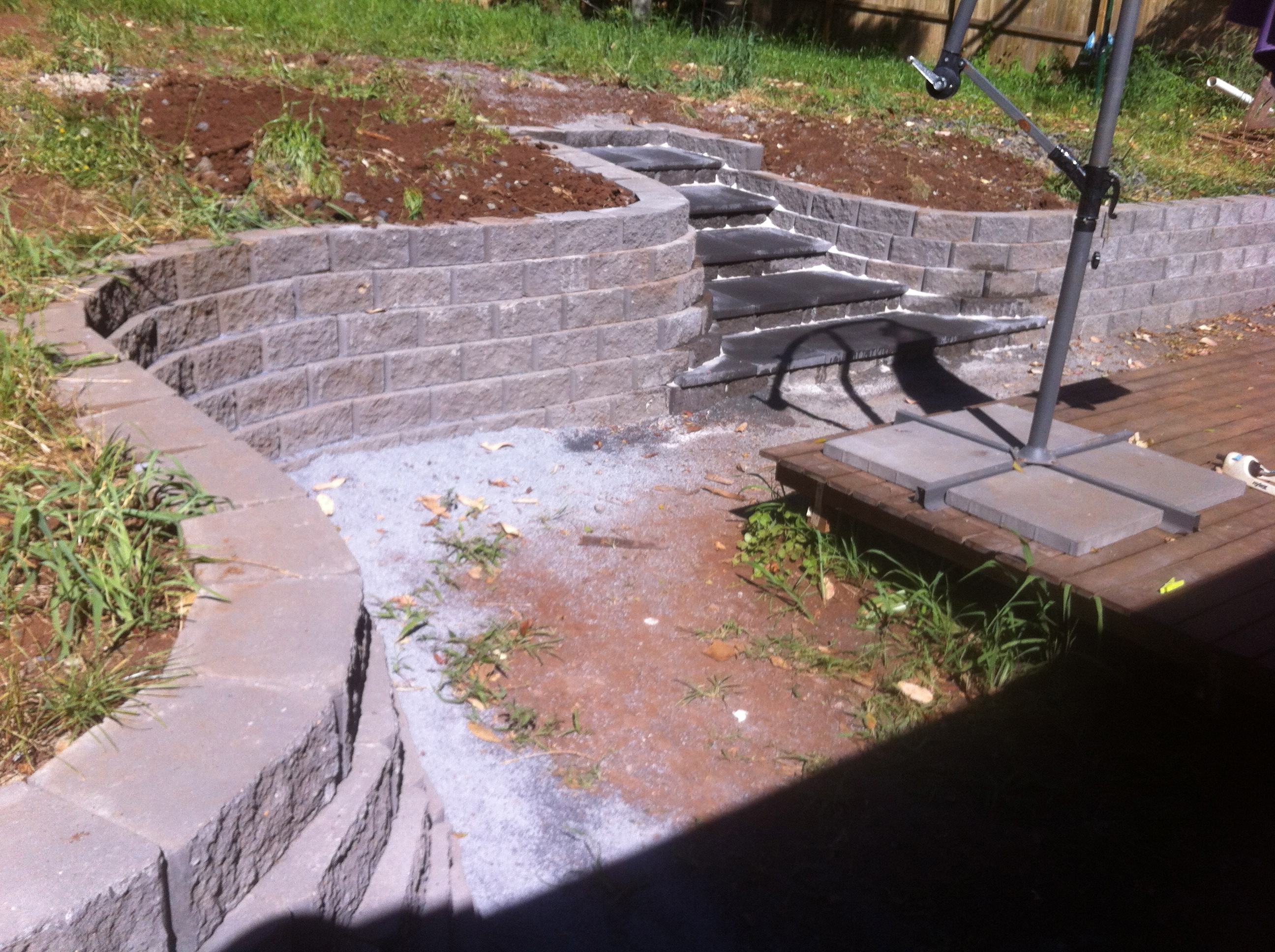 retaining wall + steps construction