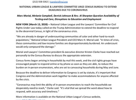 NATIONAL URBAN LEAGUE & LAWYERS COMMITTEE URGE CENSUS BUREAU TO EXTEND DEADLINES DUE TO CORONAVIRUS