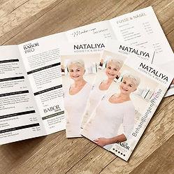 Preisliste im neuen Design für NATALIYA