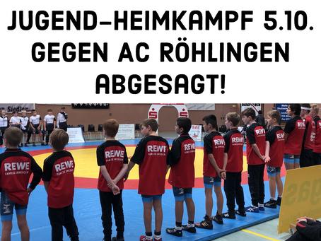 Heimkampf Jugend KG Ebersbach/Faurndau gegen AC Röhlingen am 5.10. abgesagt!