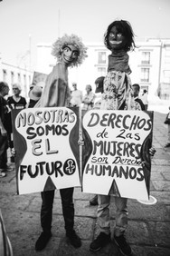 Two Oaxacans advocate for women's rights at a march in solidarity with the 2017 National Women's March of the United States. Oaxaca de Júarez, Oaxaca  January 2017