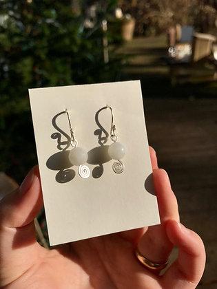 Moonstone Spiral Earrings