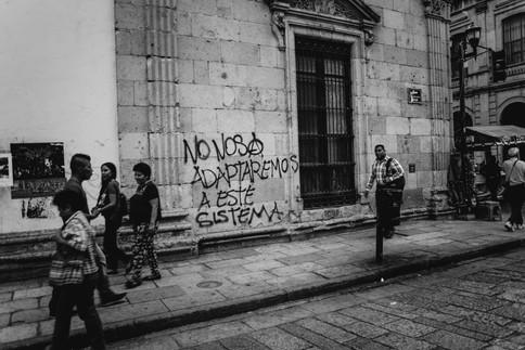 Graffiti along the andador, one of the main walking streets in the city center.  Oaxaca de Júarez, Oaxaca April 2018