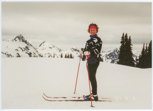 Taken only a few years after my mom had written in one of her photo albums that the only PNW outdoor sport she didn't like was skiing. Somewhere in the Western Washington Cascade Mountains c. 1980
