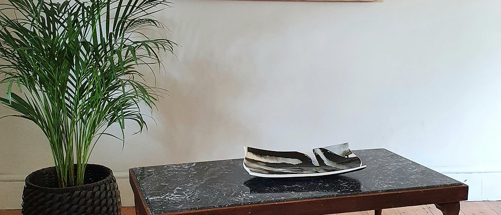 Coffee Table with Black and White Inset Marble Top