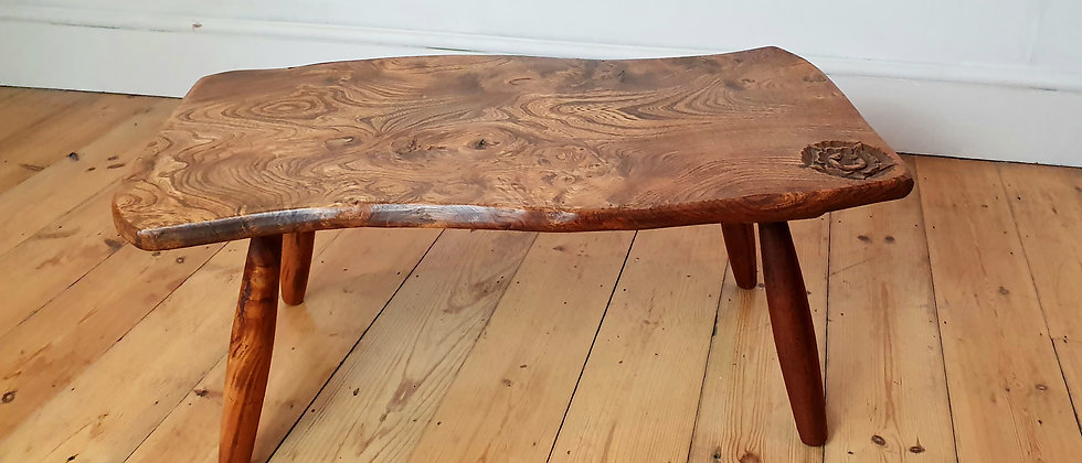 Handcarved Elm Coffee Table By Mastercraftsman Harry Tonkin Dated 1961