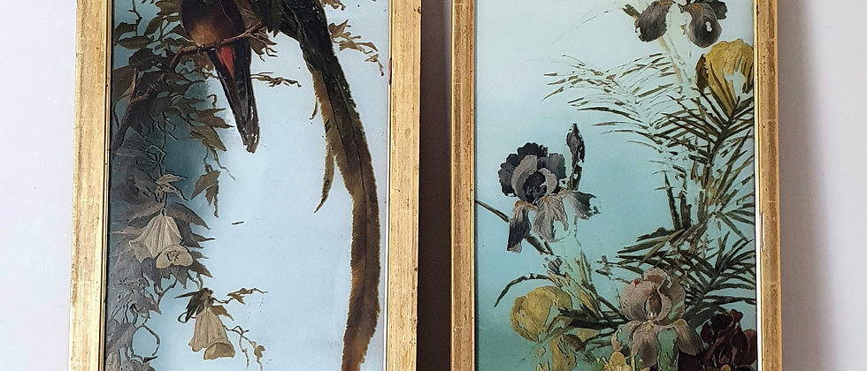 Pair of Original Victorian Paintings on Opaque Glass