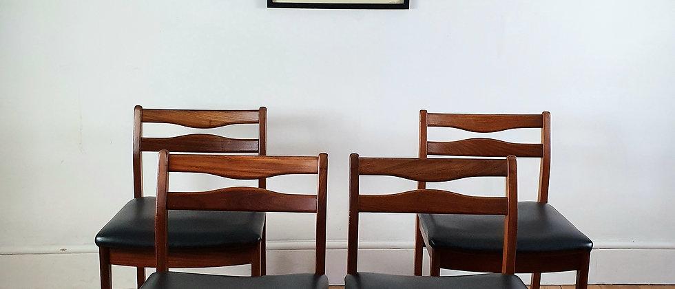 Set of Four Mid Century Danish Style Teak Dining Chairs