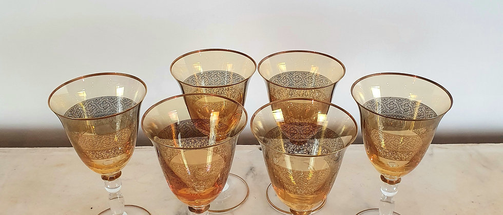 Set of 6 Gold Rimmed Wine Goblets with Gold Overlay