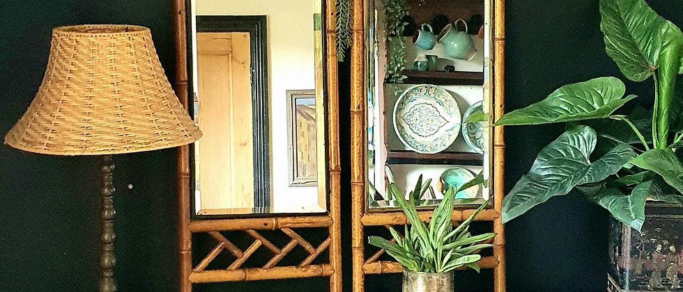 Pair of Victorian Bamboo Mirrors