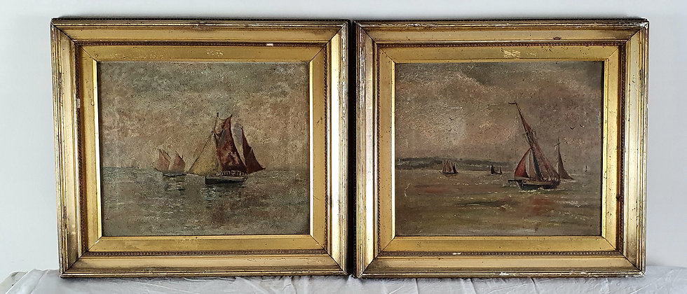 Pair Of Original Antique Oil Paintings Of Sailing Boats in Gilt Frames