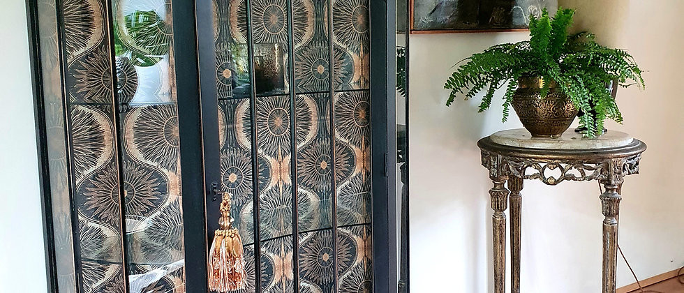 Painted Vintage Cabinet with Bibana Wallpaper