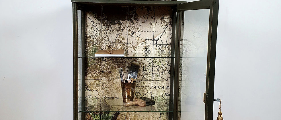 Painted Vintage Cabinet With Coordonne Old Map Wallpaper