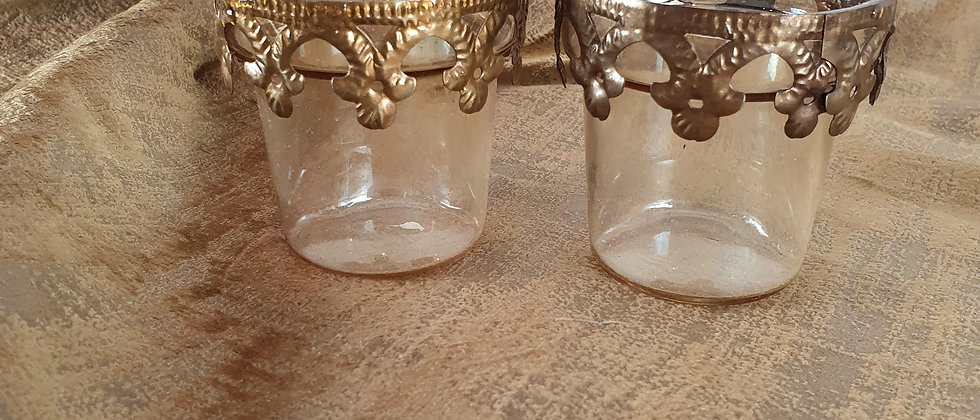 Pair of glass and gold metal tealight holders