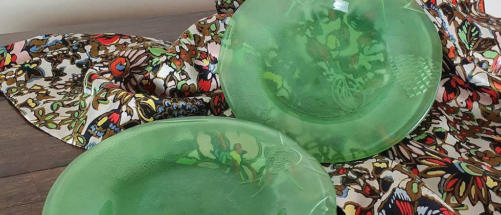 Pair of Vintage Green Glass Dessert Plates