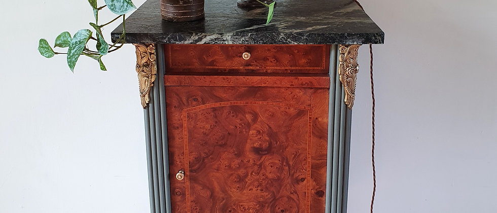 Antique Painted French Cupboard with Ormolu and Marble