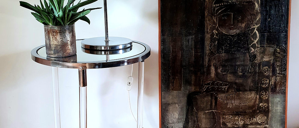Vintage Chrome and Lucite Cylindrical Side Table