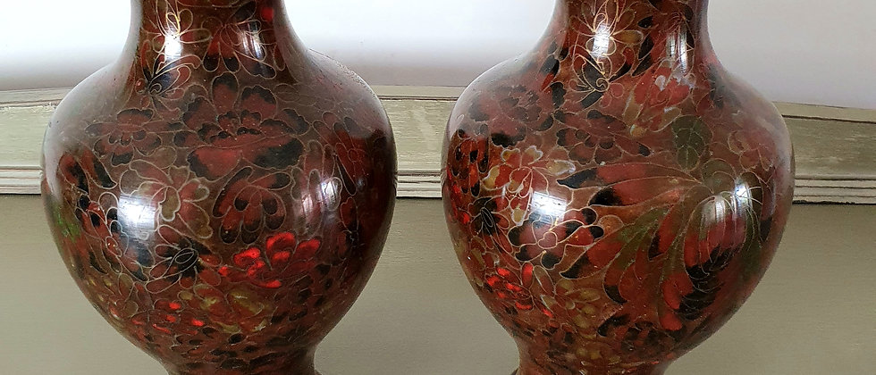 Pair of Cloisonne Chinese Vases by Jingfa