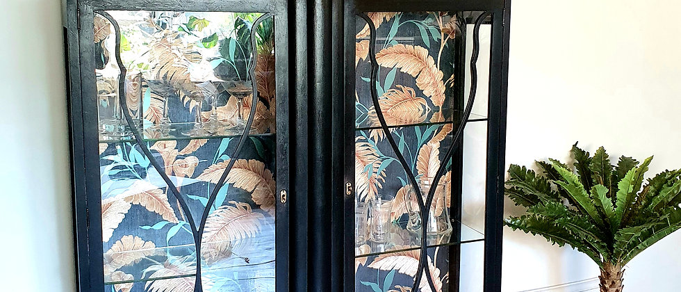 Large Art Deco Cabinet with Jungle Leaves Wallpaper