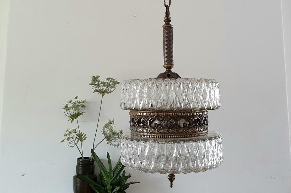 Vintage Crystal and Metal Pendant Light
