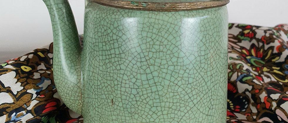 Celedon Green Vintage Crackle Glass Teapot