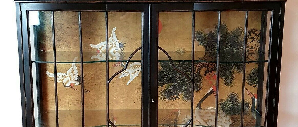 Large Art Deco Painted Display Cabinet With Bespoke Mural Wallpaper