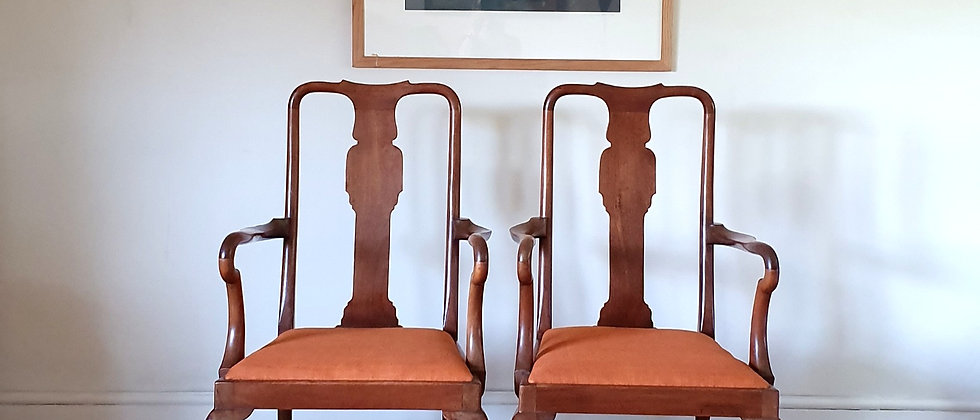 Pair Of Antique Georgian Carver/Elbow Chairs, Seats Covered In Orange Linen