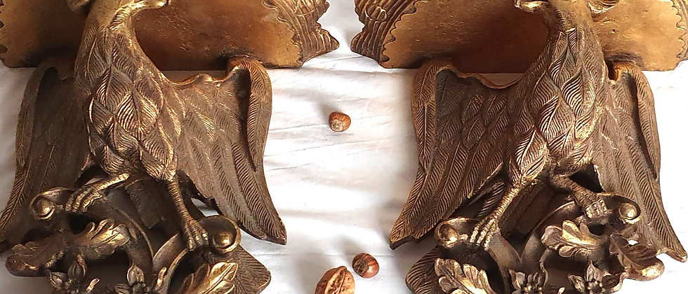 Pair Of early 20th Century Decorative Gilt Eagle Wall Brackets