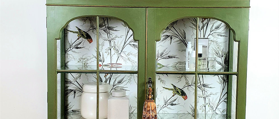 Painted Vintage Cabinet with Little Greene Wallpaper