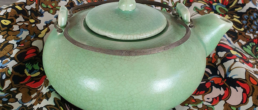 Vintage Shallow Celedon Green Crackle Teapot