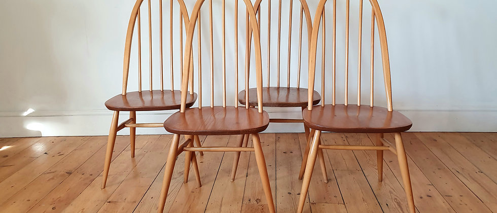 Set of Four Original Ercol Blonde Stick Back Chairs