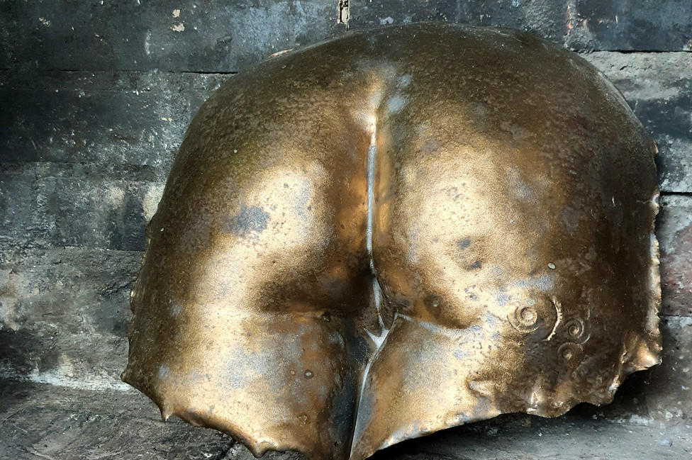 Cast Stoneware Gold Bum Sculpture