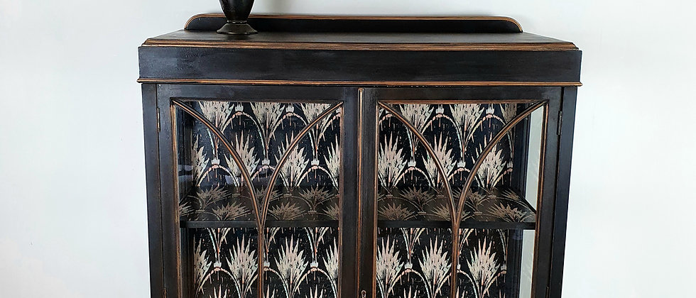 Antique Cabinet with Pearl Wallpaper by Anna Hayman