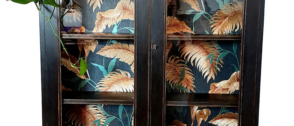Painted Victorian Cabinet with Metallic Tropical Leaves Wallpaper
