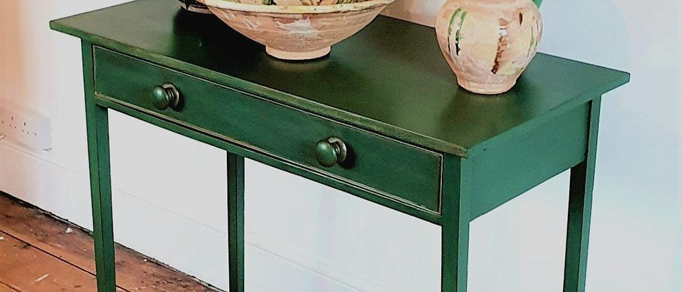 Georgian Antique Painted Side Table With Original Bun Handles