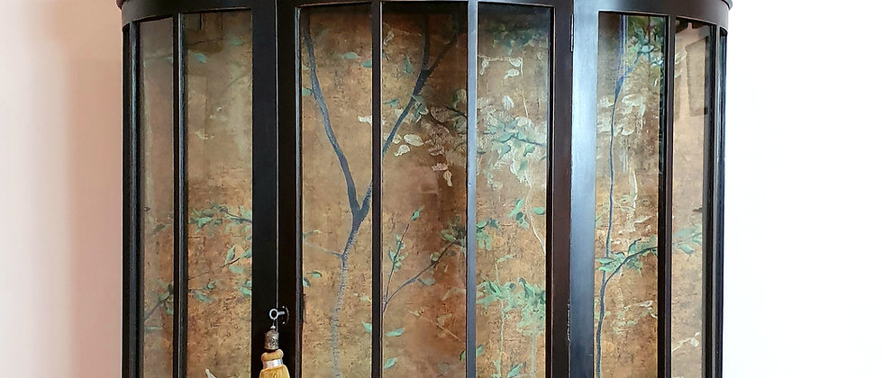 Antique Painted Display Cabinet With Trees Mural Wallpaper By Coordonne