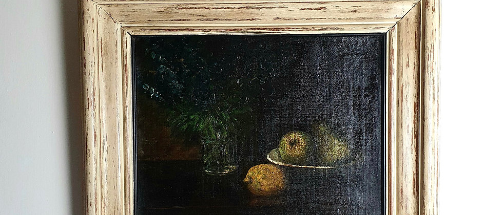 19thC Still Life of Fruit and Flowers, Oil on Canvas