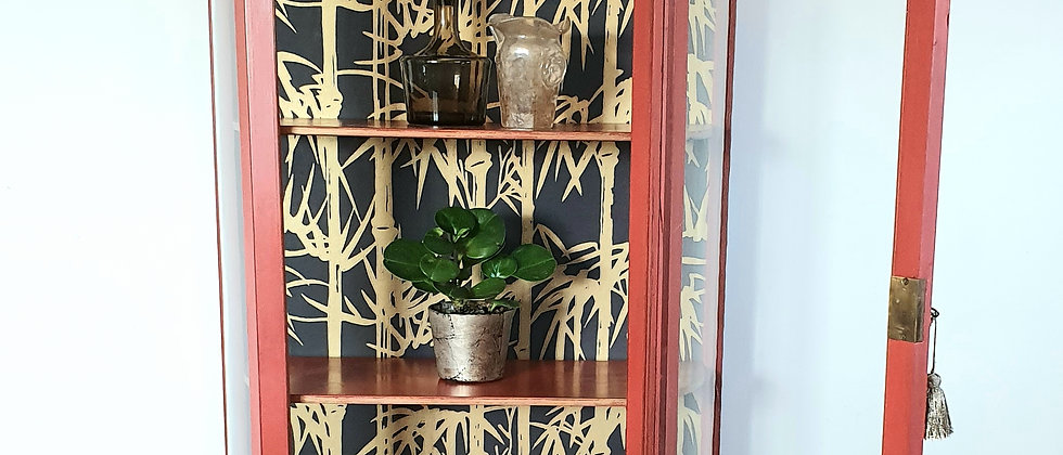 Antique Painted Display Cabinet With Curved Glass Sides