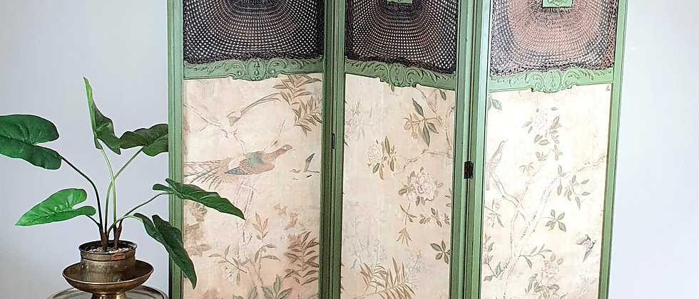 Antique  Three Fold Bergere Screen with Chinoserie Linen Panels