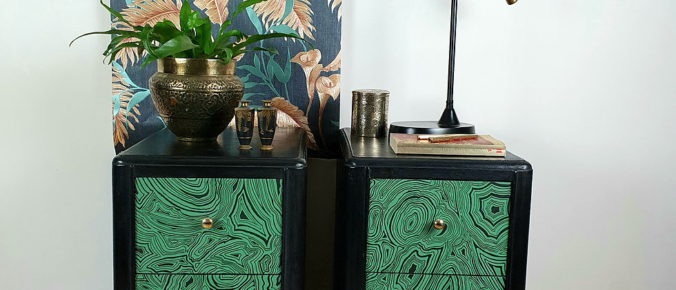 Vintage Cabinets featuring Malachite Wallpaper by Fornasetti