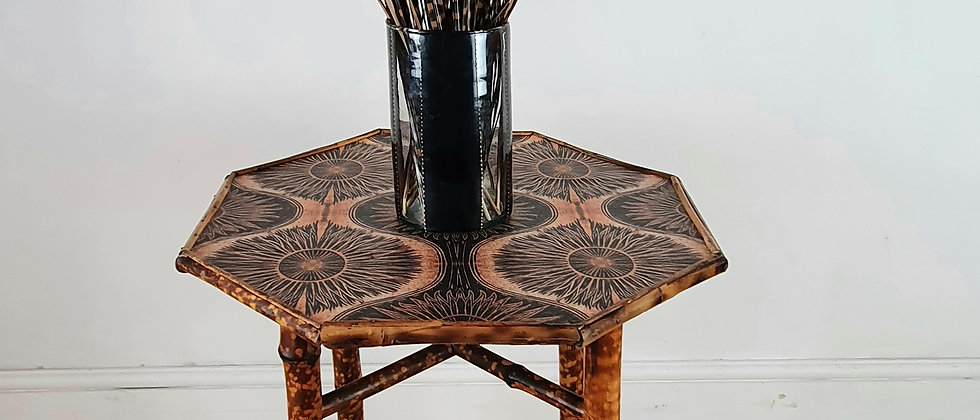 Hexagonal Victorian Aethestic Bamboo Side Table
