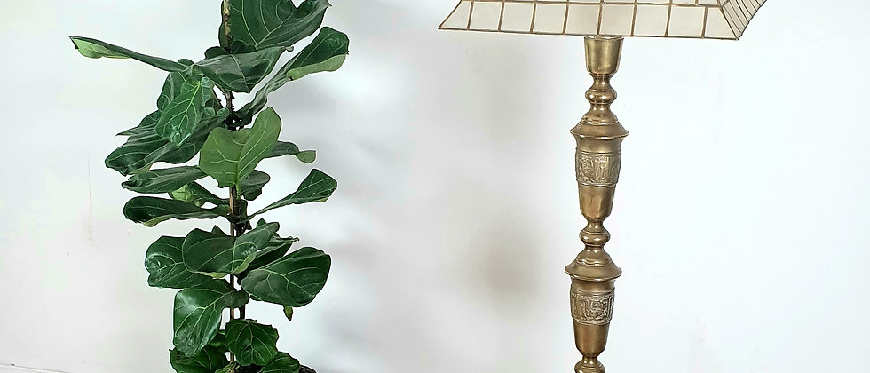Vintage Telescopic Engraved Brass Standard Lamp With Capiz Shell Shade