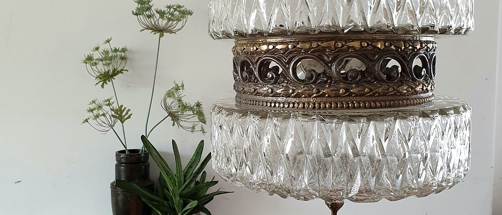 Mid Century Pressed Glass and Metal Pendant Light c.1950