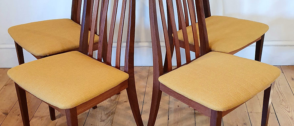 Set of Four Vintage William Lawrence Dining Chairs recovered in ochre linen