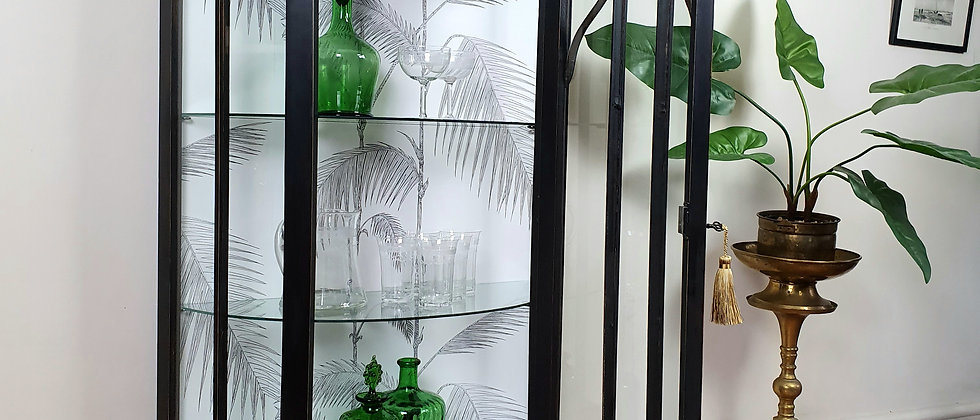 Vintage Painted Glass Cabinet With Cole And Son Wallpaper