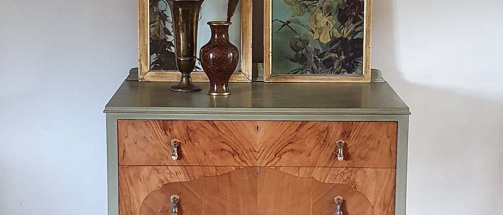 Painted Art Nouveau Marquetry Chest of Drawers