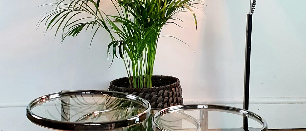Vintage Chrome and Glass Tiered Cocktail table